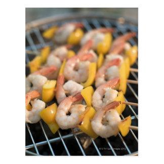 Skewer with grilled shrimps and pepper Sweden. Postcard