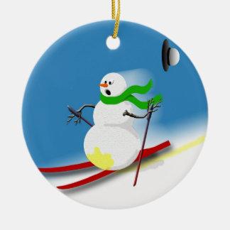 Ski Theme Gift Ideas Round Ceramic Decoration
