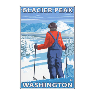 Skier Admiring - Glacier Peak, Washington Canvas Print
