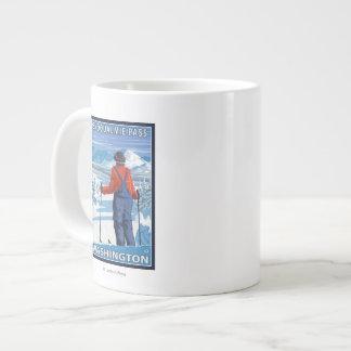 Skier Admiring - Snoqualmie Pass, Washington Large Coffee Mug
