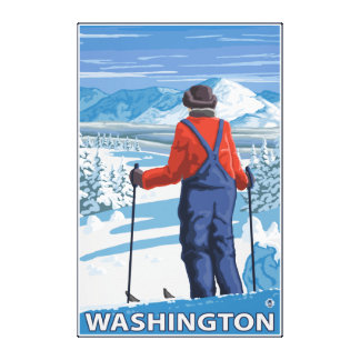 Skier Admiring - Washington Canvas Print
