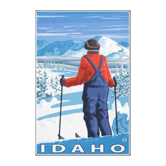 Skier AdmiringIdahoVintage Travel Poster Canvas Print