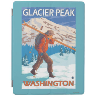Skier Carrying Snow Skis - Glacier Peak, WA iPad Cover