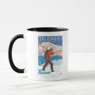 Skier Carrying Snow Skis - Idaho Mug