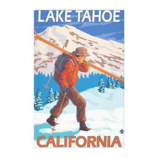 Skier Carrying Snow Skis - Lake Tahoe, Californi Canvas Print