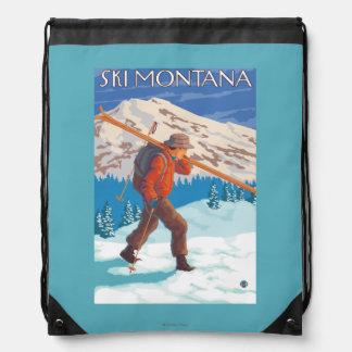 Skier Carrying Snow Skis - Montana Drawstring Bag