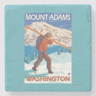 Skier Carrying Snow Skis - Mount Adams, WA Stone Coaster