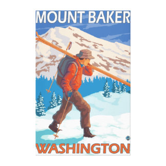 Skier Carrying Snow Skis - Mount Baker, WA Canvas Print