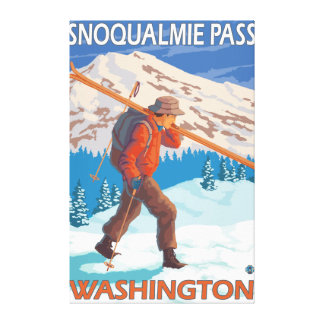 Skier Carrying Snow Skis - Snoqualmie Pass, WA Canvas Print