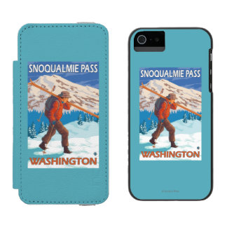 Skier Carrying Snow Skis - Snoqualmie Pass, WA Incipio Watson™ iPhone 5 Wallet Case