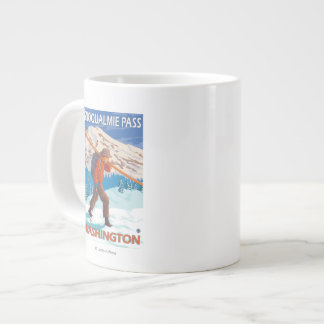 Skier Carrying Snow Skis - Snoqualmie Pass, WA Large Coffee Mug