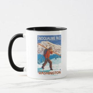 Skier Carrying Snow Skis - Snoqualmie Pass, WA Mug