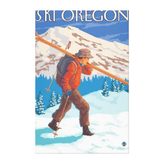 Skier Carrying Snow Skis- Vintage Travel 3 Canvas Print
