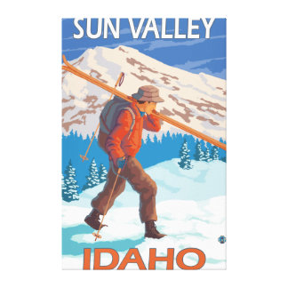 Skier Carrying Snow Skis- Vintage Travel Canvas Print
