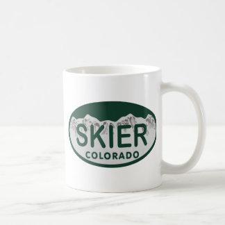 skier license oval coffee mug