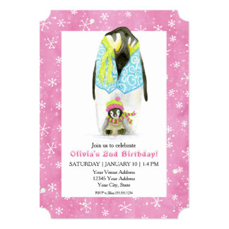 Skiing Penguin Girl Birthday Party Ski Snowflake Card