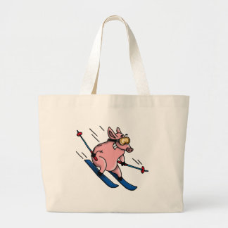 skiing pig large tote bag