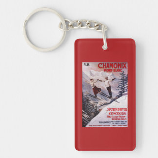 Skiing Promotional Poster Double-Sided Rectangular Acrylic Key Ring