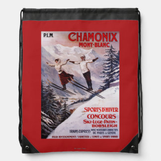Skiing Promotional Poster Drawstring Backpacks