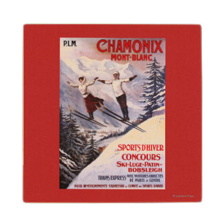 Skiing Promotional Poster Maple Wood Coaster