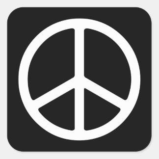 Skinny White Peace Symbol Square Sticker