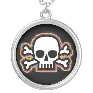 Skull and Bones Round Pendant Necklace