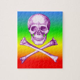 Skull and Cross Bones in Purple Jigsaw Puzzle