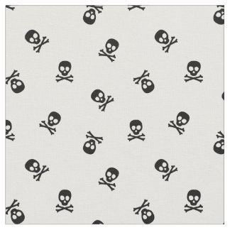 Skull and Crossbones Black and White Fabric