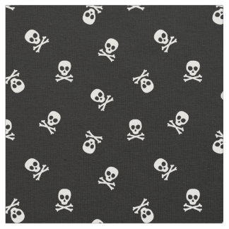 Skull and Crossbones on Black Fabric