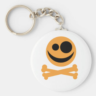 Skull and Crossbones. Orange and Black. Basic Round Button Key Ring