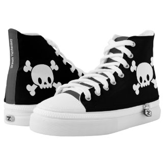 Skull and Crossbones Zipz High Top Printed Shoes