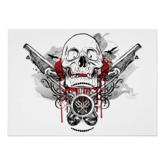 Skull and Pirate Pistols Graphic Poster