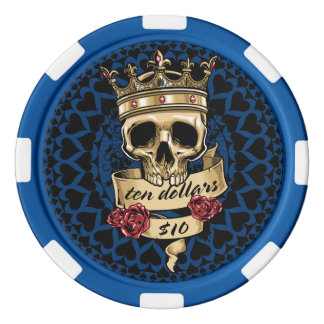 Skull and Roses Poker Chip - $10
