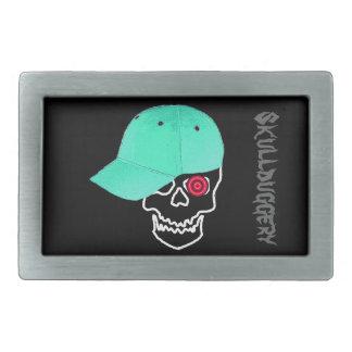 Skull cap skullduggery humor funny belt buckle