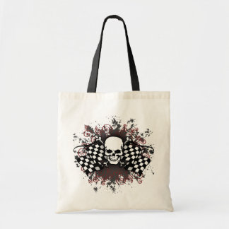 Skull-checkered flags-splat tote bag
