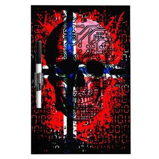 Skull circuit (norway-flag) dry erase board