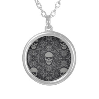 Skull Collection Round Pendant Necklace