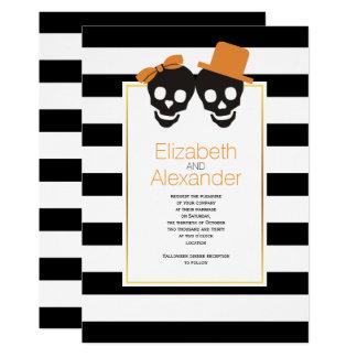 Skull couple black, white stripes Halloween orange 13 Cm X 18 Cm Invitation Card