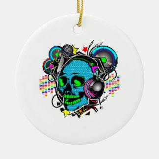 Skull DJ Christmas Ornament