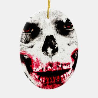 Skull Face Zombie Man Creepy Horror Ceramic Oval Decoration