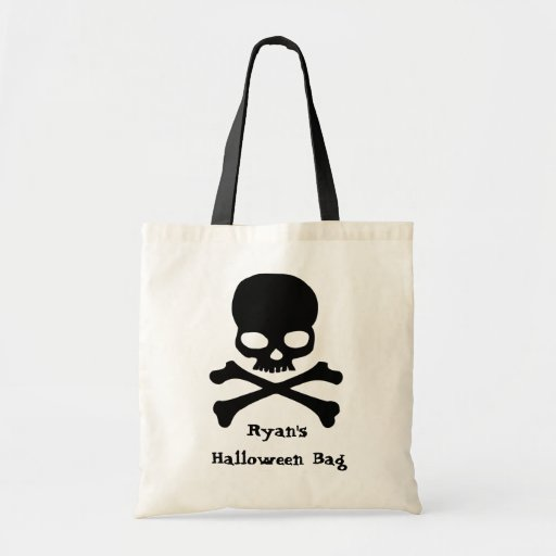 Skull Halloween Trick or Treat Tote Personalized Bags