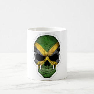 skull head with jamaica flag basic white mug