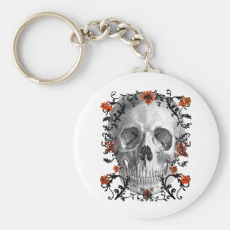 SKULL HEAD WITH VINES AND FLOWERS PRINT KEY RING