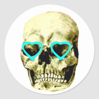 Skull Hearts Cyan The MUSEUM Zazzle Gifts Round Stickers