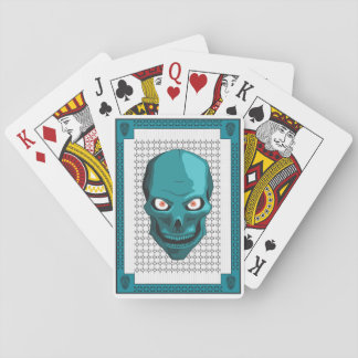 Skull in Ice Blue Playing Cards