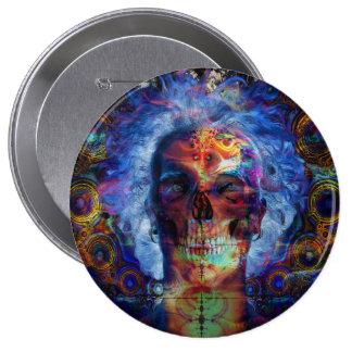 Skull psychodelicart 10 cm round badge