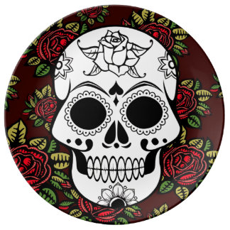 Skull retro red roses  Decorative Porcelain Plate