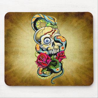Skull Snake Roses Design Mouse Pad