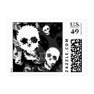 Skull Spectres B&W (close up) postage stamp