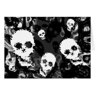 Skull Spectres B&W greetings card